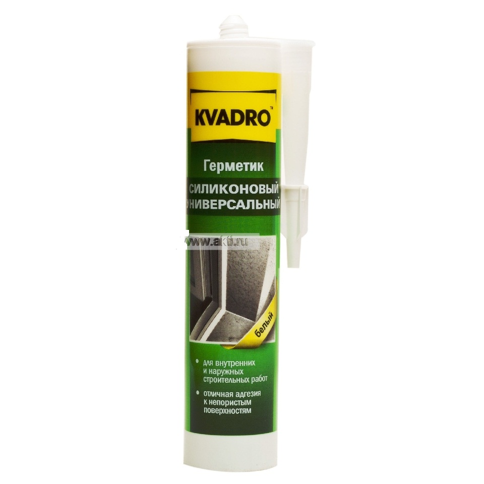 Фото - Герметик силиконовый (Kvadro) санитарный, белый