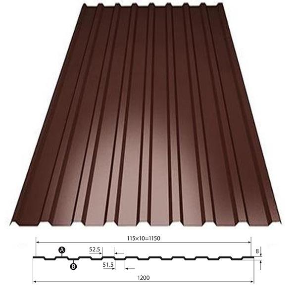 Фото - Профнастил С8 коричневый (1.2х2м)