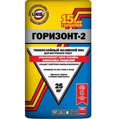 Фото - Наливной пол тонкослойный Юнис Горизонт-2  25 кг.